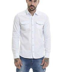 camisa jeans offert premium slim fit manga longa masculina