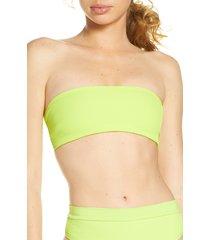 women's l space beach wave bikini top, size small - green