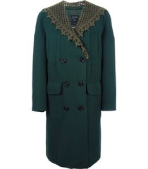 jean paul gaultier pre-owned detachable shawl collar coat - green