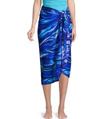 abstract-print sarong coverup