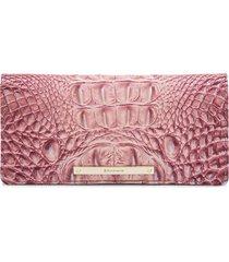 women's brahmin 'ady' croc embossed continental wallet - pink