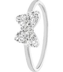 anello fiocco in argento 925 rodiato e zirconi per donna