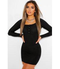 petite geribbelde mini jurk met knoop detail, zwart