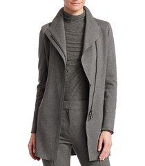 akris punto women's asymmetric zip front moto jacket - graphite - size 10