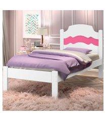 cama solteiro iris branco rosa casah