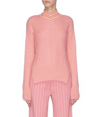 'a stitch in time' contrast stitch stripe collar sweater