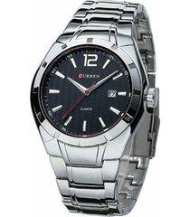 relógio curren analógico 8103 prata e preto