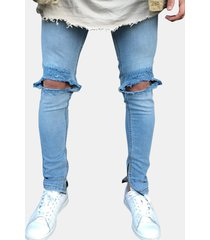 jeans da uomo casual slim fit blu scuro per uomo