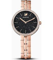 orologio cosmopolitan, bracciale di metallo, nero, pvd oro rosa