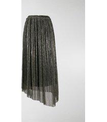 isabel marant étoile asymmetrical metallic pleated skirt