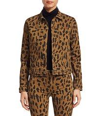 l'agence women's celine animal-print denim jacket - spotted - size xs
