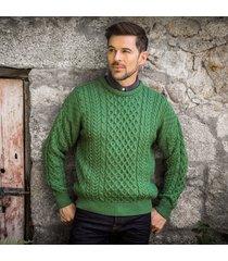 men's traditional merino wool aran sweater green small