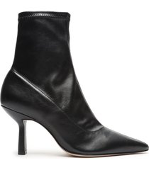 charleni stretch leather bootie - 10 black stretch leather