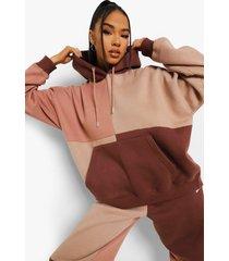 monochrome colour block hoodie, camel