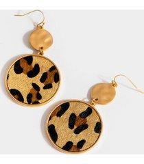 lana circle drop earrings - leopard
