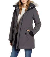 women's canada goose rosemont arctic tech 625 fill power down parka with genuine coyote fur trim, size xx-small (0) - grey