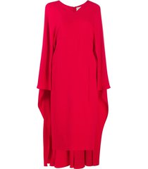 valentino cape-style v-neck silk midi-dress - red