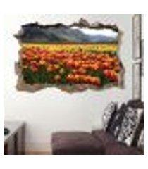 adesivo buraco na parede tulipas vermelhas e amarelas - g 65x100cm