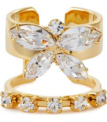 crystal butterfly double band ring