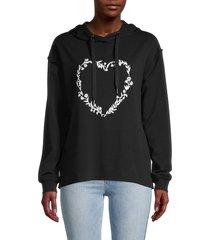 c & c california women's heart-print hoodie - misty rose - size m