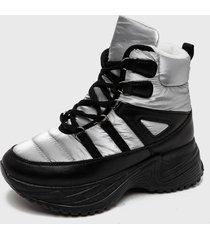 botín plateado stylo shoes