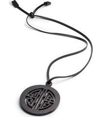 horn round geo necklace, women's, black, josie natori