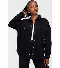 selected femme slfally ls black denim shirt w skjortor