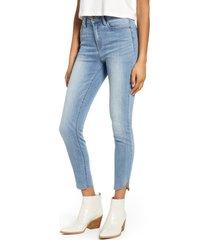 women's prosperity denim high waist raw envelope hem skinny jeans