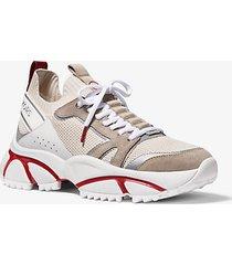 mk sneaker lucas in pelle e maglia - rosso brillante (rosso) - michael kors
