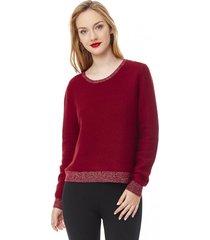 sweater basico mujer burdeo corona