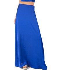 falda larga pekin azulino seda maria paskaro