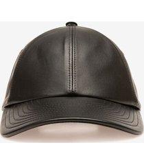 leather cap black 58