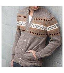 men's alpaca blend sweater, 'brown inca hills' (peru)