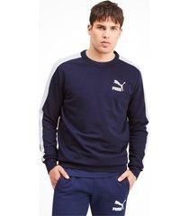 iconische t7 sweater met ronde hals voor heren, blauw, maat xl | puma