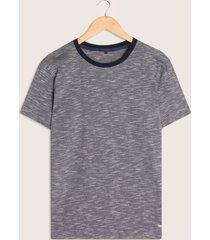 camiseta manga corta cuello redondo con tira tejida-m