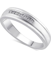 men's certified diamond (1/8 ct. t.w.) ring in 14k white gold