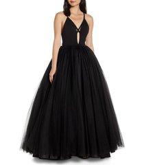 women's mac duggal cutout v-neck tulle prom dress, size 2 - black