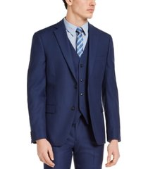 alfani men's slim-fit stretch blue solid suit jacket, created for macy's