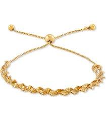 giani bernini twisted herringbone bolo bracelet in 18k gold-plated sterling silver, created for macy's