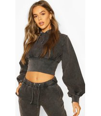 acid wash fitted wasit hoodie, charcoal