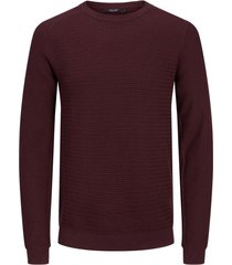 jack & jones plus size gebreide trui bordeaux ronde hals