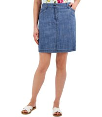 karen scott petite chambray skort, created for macy's