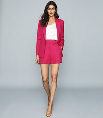 reiss ada - linen blend single breasted blazer in dark pink, womens, size 14