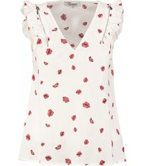 morgan off white blouse top katoen stretch valt kleiner
