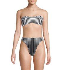 norma kamali women's sunglass stripe bikini top - ivory black - size xs