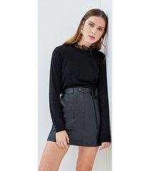 motivi maglia bimaterica con rouches donna nero