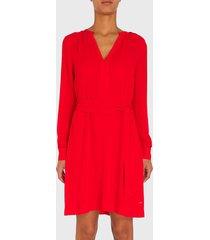 vestido tommy hilfiger rojo - calce regular