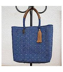 handwoven leather accent tote, 'prussian blue pattern' (mexico)