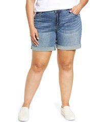 plus size women's kut from the kloth catherine high waist cutoff denim boyfriend shorts, size 18w - blue