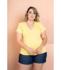 t-shirt babado amarelo plus size maria rosa
